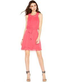 Jessica Simpson Crochet-Trim Belted Pleated Dress - Dresses - Women - Macy's