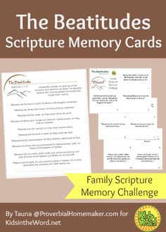 The Beatitudes Scripture Memory Cards. Christian living and homeschool resources from KidsintheWord.net