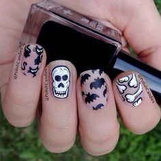 Halloween nails,, you'll go howling for it (;