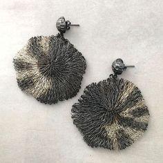 leopard-mz-earrings Unique Earrings, Silver Earrings, Silver Jewelry, Wire Mesh, Organic Shapes, Whimsical, Artisan, Jewelry Design, Plating