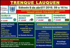 TRENQUE LAUQUEN sábado 9 de abril desde las 09.00 a 16.00hs