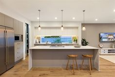 Mojo Homes Modern galley kitchen with dual tone cabinetry and glass window splash back Kitchen Room Design, Kitchen Colors, Home Decor Kitchen, Interior Design Kitchen, New Kitchen, Home Kitchens, Kitchen Ideas, Kitchen Benchtops, Kitchen Flooring