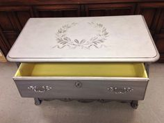 The stencil is painted using a foam roller with Antique Silver by Paint Couture! Inside is Citrine by Paint Couture! Silver Paint, Metallic Paint, Metal Furniture, Painted Furniture, Hope Chest, Antique Silver, Stencil, Storage Chest, Couture