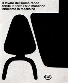 """1969 Magazine Advertisement.  """"Esso: il lavoro dell'uomo rende fertile la terra l'olio mantiene efficiente la macchina""""  Advertising Office: G. Confalonieri  Roma, Italy"""