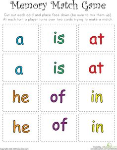Sight Words Memory Match - this seems to be working with my son. He likes to play and is starting to know the different words. Preschool Sight Words, Teaching Sight Words, Sight Word Practice, Sight Word Games, Sight Word Activities, Preschool Letters, Preschool Ideas, Kindergarten Reading, Teaching Reading