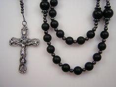 Men's Rosary Catholic Gemstone 23 1/4 inch by TheGemBeadLink