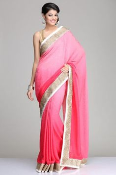 Self-Patterned Pink Ombre Georgette Saree With A Golden Swirly Floral Pattern Border And Ivory & Gold Soft Brocade Blouse Piece