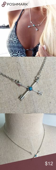 Turquoise & silver arrows crossing X necklace NWT, adjustable in the back, measures 44+5cm chain length Jewelry Necklaces