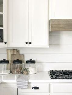 easy no sew drop cloth curtains - Kitchen Vent Hood, Kitchen Reno, Kitchen Backsplash, Diy Kitchen, Kitchen Remodel, Kitchen Design, Kitchen Cabinets, Kitchen Ideas, Backsplash Ideas