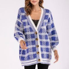 V Neck Casual Plaid Long Sleeve Knit Cardigan Find latest women's clothing, dresses, tops, outerwear, and other fashion clothing and enjoy the worldwide shipping # Sweater Coats, Knit Cardigan, Sweaters, Trench Coat Sale, Plaid Jacket, Cardigan Fashion, Striped Knit, Latest Fashion Clothes, Long Sleeve