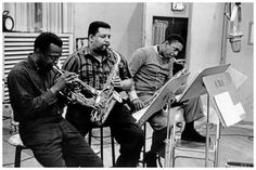 From left to right Miles Davis, Cannonball Adderley and John Coltrane