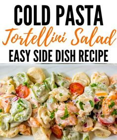 Serve up this tortellini pasta salad. Fresh cheese stuffed pasta, homemade sauce, and crisp veggies in every bite. The ultimate side dish recipe. Easy Tortellini Recipes, Cold Pasta Recipes, Cold Pasta Dishes, Cold Side Dishes, Potluck Side Dishes, Pasta Salad With Tortellini, Easy Pasta Salad Recipe, Pasta Salad Italian, Side Dishes Easy