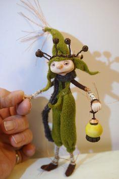 moss green LIGHT BEARER elf pixie fairy (67 ) ooak poseable art doll by DinkyDarlings