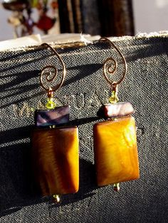Geometric shell earrings spiral handmade earwire by Naturalicon, $35.00