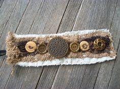 Buttons Linen Beige Lace Mocha trim Cuff by TatteredWears on Etsy, $26.00