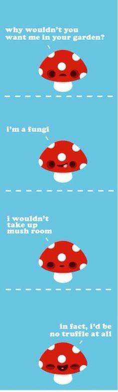 "Mushroom puns. He had me at ""fungi."" lol I   love mushrooms."