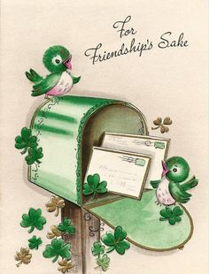 Patrick's Day card vintage St. Patrick's Day card vintage St. Patrick's Day card - St Patricks Day Cards, Happy St Patricks Day, Saint Patricks, Vintage Greeting Cards, Vintage Postcards, Images Vintage, Irish Blessing, St Paddys Day, Luck Of The Irish
