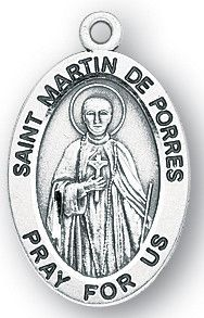 Sterling Silver Oval Shaped St. Martin De Porres Medal by HMH | Catholic Shopping .com