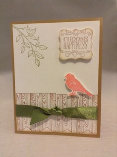 Card Kit Set Of 4 Stampin Up Choose Happiness Wood grain Fence #StampinUp