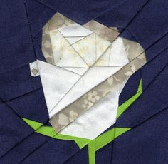 paper piecing - pretty white rose