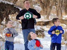 Heather, please do this with Brent and the boys.  So cute! Family Pictures - My Boys are Super Heroes!