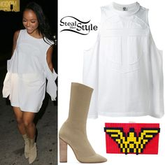 Karrueche Tran was spotted leaving the Chateau Marmont GQ Magazine Party last week wearing a Telfar Cut-Out Shoulder Sweatshirt ($105.27), a LOLA by Alyssa Simone Wonder Woman Clutch Bag ($410.00) and Yeezy Season 2 Low Knit Boots ($895.00).