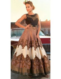 Buy Brown Color Designer Bollywood Replica Gown Style Dress online in India at best price.hite Colored Semi-Stitched Georgette Dress Material With Shantoon Bottom And Beautiful Chiffon Dupatta. Designer Anarkali, Designer Gowns, Designer Wear, Gown Style Dress, Gown Dress, Dress Suits, Readymade Salwar Kameez, Party Kleidung, Printed Gowns