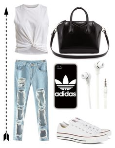 """Ripped jeans"" by sofiemoberg ❤ liked on Polyvore featuring VILA, Converse, adidas, Merkury Innovations and Givenchy"