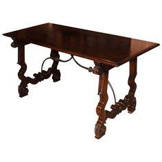 Early 20th c Spanish Style Mahogany Library Table