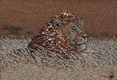 mosaïque de sables et de coquillages