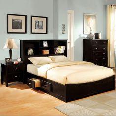 Furniture Of America Elisandre Espresso Brown Bookcase Headboard Platform Bed Queen