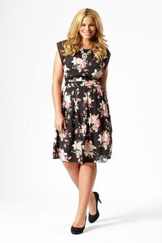 Black And Pink Floral Print Midi Dress With Mesh Insert: Amazon.co.uk: Clothing