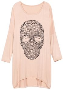 Apricot Long Sleeve Skull Print Loose T-Shirt