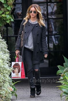 Seen on Celebrity Style Guide: 'Scary Movie 5' actress Ashley Tisdale wore this wool pea coat as she visits the the Andy LeCompte Salon in West Hollywood, California on February 7....Get It Here: http://rstyle.me/n/e93j5mxbn