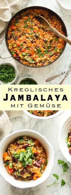 Traditionelles kreolisches Gemüse Jambalaya (Reiseintopf) mit Kidney Bohnen, vegan, vegetarisch, glutenfrei - Einfache Gesund Rezepte Elle Republic