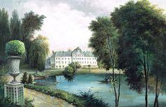 Paysages colorés - La maison du Lac, paysage coloré 450x292cm ultra mat - 5 lés de 90cm