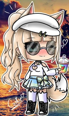 Sketch from Sony Gift for Hope chu liked it Anime Wolf Girl, Anime Art Girl, Manga Girl, Neko Kawaii, Kawaii Girl, Kawaii Drawings, Cute Drawings, Cute Anime Chibi, Anime Outfits