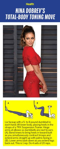 The Total-Body Toning Exercise Nina Dobrev Swears By Thigh Toning Exercises, Toning Workouts, Dumbbell Workout, Tummy Workout, Toned Legs Workout, Total Body Toning, Yoga Poses For Two, Workout Posters, Celebrity Workout