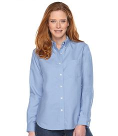 Easy-Care Washed Oxford Shirt, Long-Sleeve