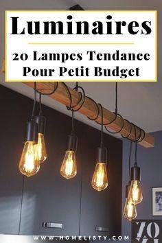 Avez-vous pensé à profiter des réductions des soldes pour acheter des luminaires tendance à petits prix ?  Découvrez cette sélection de 20 luminaires tendance pour les petits budgets. Des suspensions, des lampes, des appliques, des veilleuses, des lampadaires,...  #luminaires #lampes #suspension #lampadaires #veilleuses #appliques #maison #eclairage #jardin #exterieur #idees #ideesdeco #design Suspension Diy Luminaire, Luminaire Design, Home Lighting, Restaurant Bar, Home Projects, Planer, Home Kitchens, Kitchen Remodel, Ikea