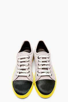 LANVIN Grey leather & calf-hair Tennis sneakers