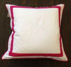 White Linen Border Pillow - Hot Pink // No. Four Eleven