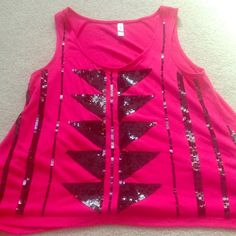 Hot Pink Geometric Sequin Top Flowy fit. Only worn a handful of times. Like new. Xhilaration Tops Tank Tops