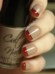 fall nail art: The Nailasaurus took the two chicest polish colors—nude and red—and combined them in one flawless mani.