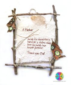 Beautiful twig and leaf wall hanging for Dad this Father's Day. Older children can make this with your help. #FathersDayCrafts #FathersDayGifts #engagedinart