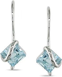 10k White Gold Blue Topaz Earrings