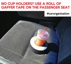 Older car with no cup holders? Use a roll of gaffers tape on the passenger seat. #bearoy #caraccessory #car #carbackseatoganizer #carorganizer #kids #tabletholder #tablet #ipad #ipadholder #carorganization #highquality #organizer