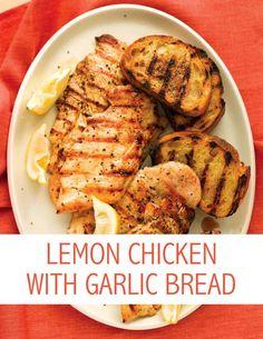 Lemon Chicken with Garlic Bread | Martha Stewart Living - This light ...