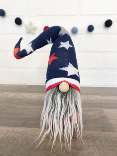Adorable little patriotic gnome! Fourth of July gnome. Fourth Of July Decor, 4th Of July, July Crafts, Gnomes, Holiday Fun, Sweet Home, Blanket, House, Home Decor