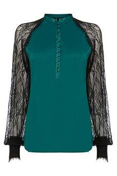 The Dita lace top is crafted from stretch poly sateen with a silk touch and sheer delicate lace sleeves.